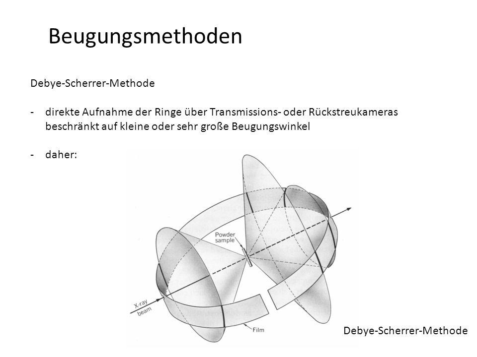 Beugungsmethoden Debye-Scherrer-Methode -direkte Aufnahme der Ringe über Transmissions- oder Rückstreukameras beschränkt auf kleine oder sehr große Beugungswinkel -daher: Debye-Scherrer-Methode