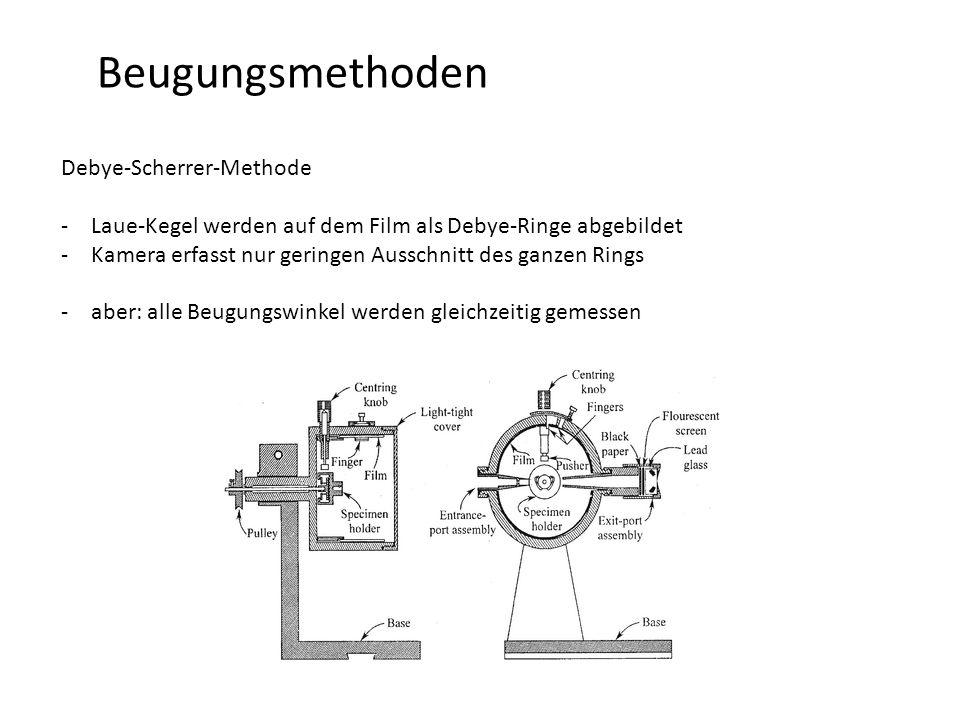 Beugungsmethoden Debye-Scherrer-Methode -Laue-Kegel werden auf dem Film als Debye-Ringe abgebildet -Kamera erfasst nur geringen Ausschnitt des ganzen Rings -aber: alle Beugungswinkel werden gleichzeitig gemessen