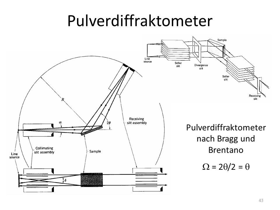 43 Pulverdiffraktometer Pulverdiffraktometer nach Bragg und Brentano  = 2  /2 = 