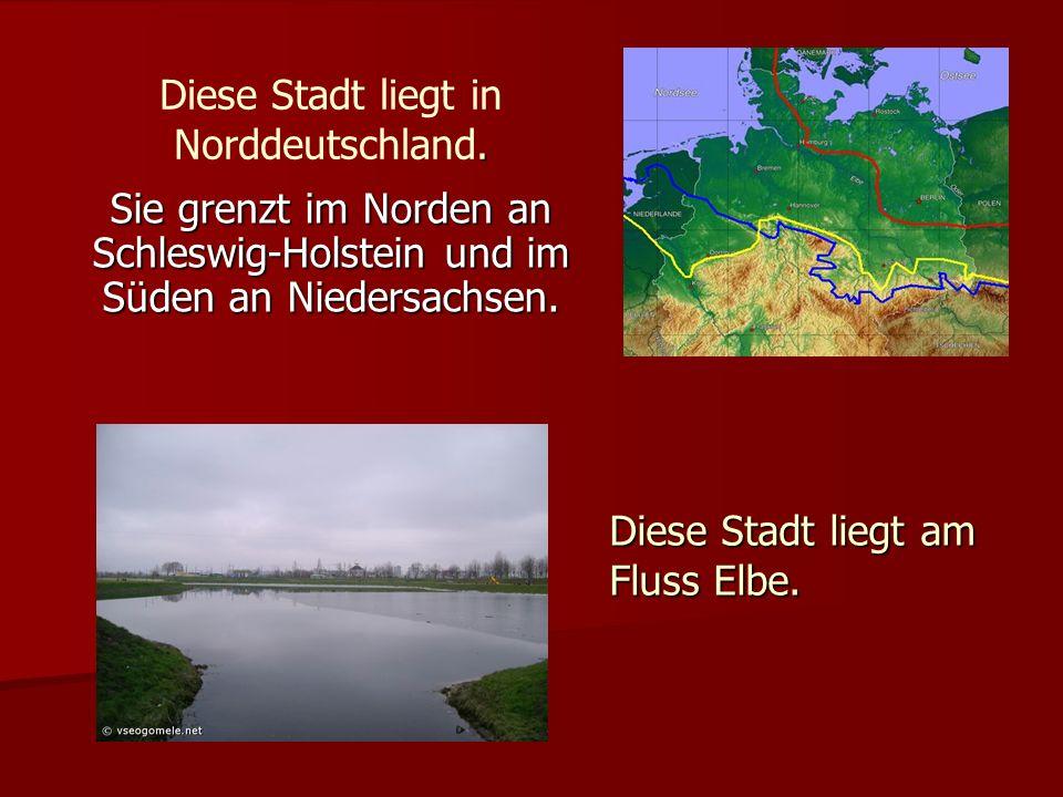 . Diese Stadt liegt in Norddeutschland. Sie grenzt im Norden an Schleswig-Holstein und im Süden an Niedersachsen. Diese Stadt liegt am Fluss Elbe.