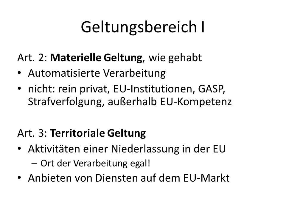 Geltungsbereich I Art. 2: Materielle Geltung, wie gehabt Automatisierte Verarbeitung nicht: rein privat, EU-Institutionen, GASP, Strafverfolgung, auße