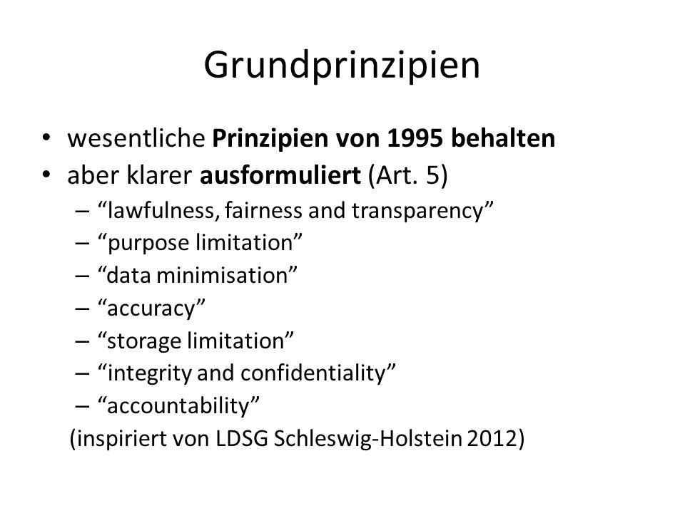 """Grundprinzipien wesentliche Prinzipien von 1995 behalten aber klarer ausformuliert (Art. 5) – """"lawfulness, fairness and transparency"""" – """"purpose limit"""