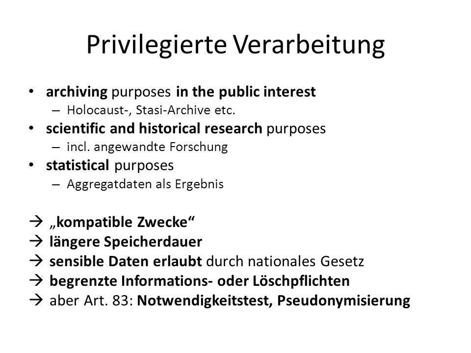 Privilegierte Verarbeitung archiving purposes in the public interest – Holocaust-, Stasi-Archive etc. scientific and historical research purposes – in