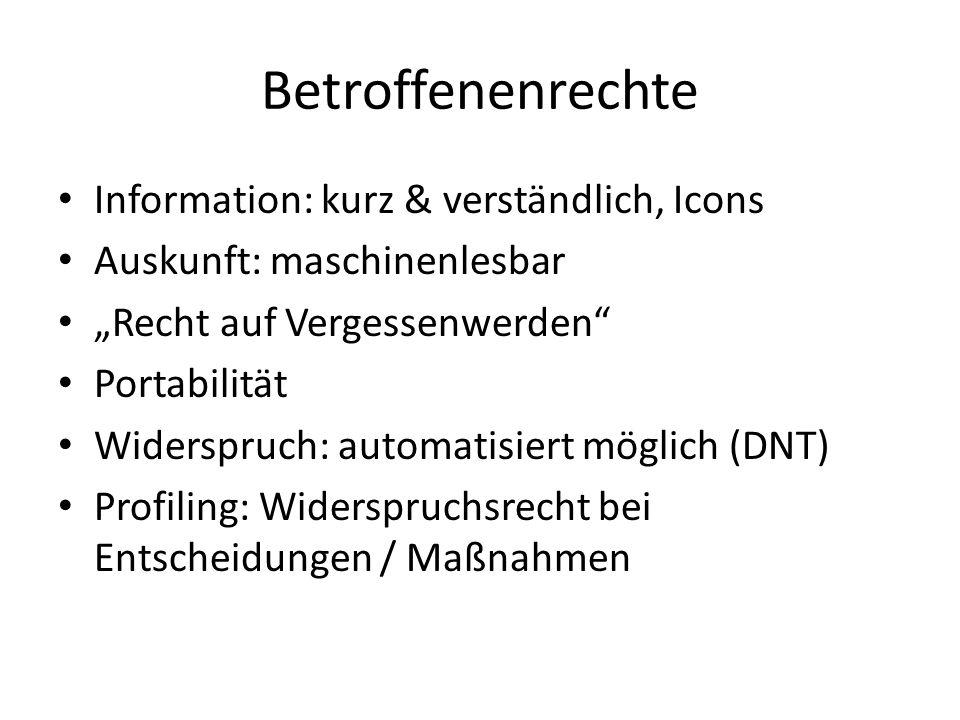 """Betroffenenrechte Information: kurz & verständlich, Icons Auskunft: maschinenlesbar """"Recht auf Vergessenwerden"""" Portabilität Widerspruch: automatisier"""