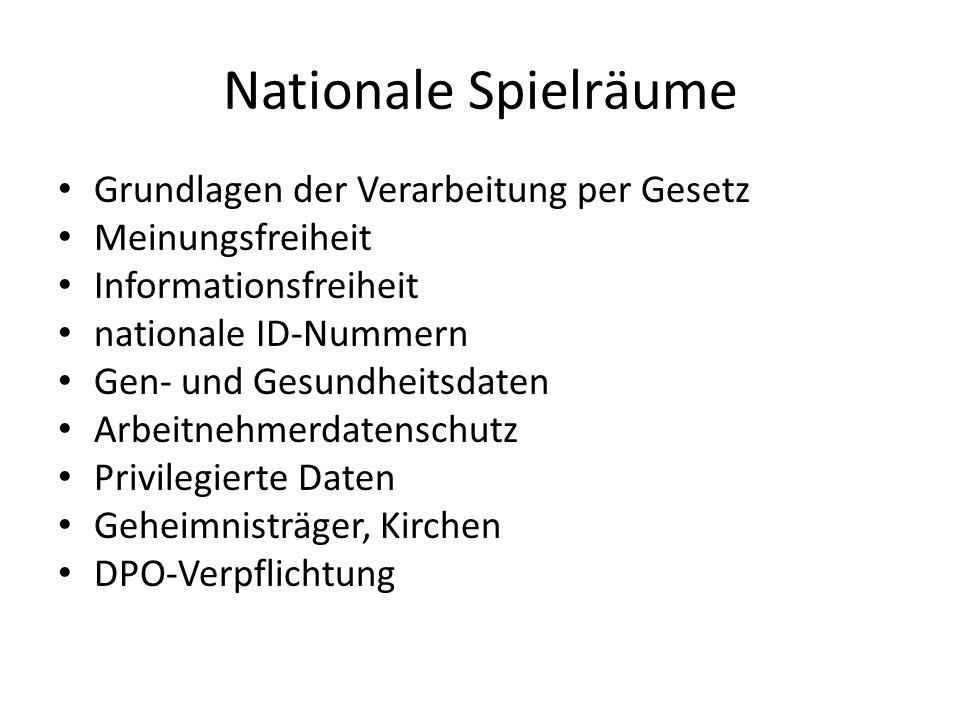 Nationale Spielräume Grundlagen der Verarbeitung per Gesetz Meinungsfreiheit Informationsfreiheit nationale ID-Nummern Gen- und Gesundheitsdaten Arbei