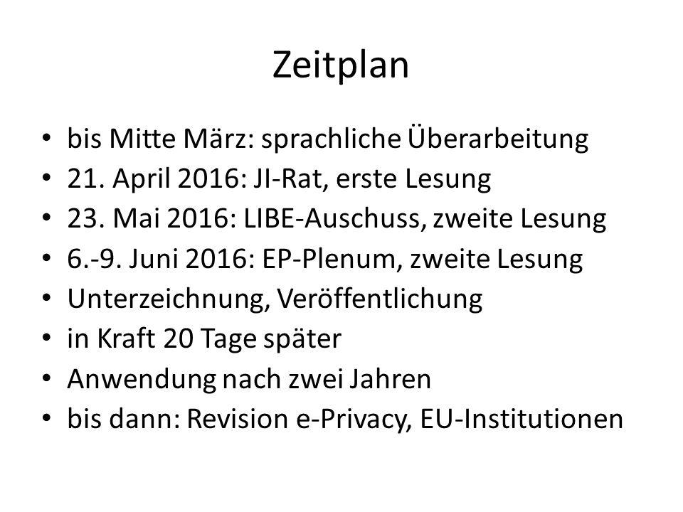 Zeitplan bis Mitte März: sprachliche Überarbeitung 21. April 2016: JI-Rat, erste Lesung 23. Mai 2016: LIBE-Auschuss, zweite Lesung 6.-9. Juni 2016: EP