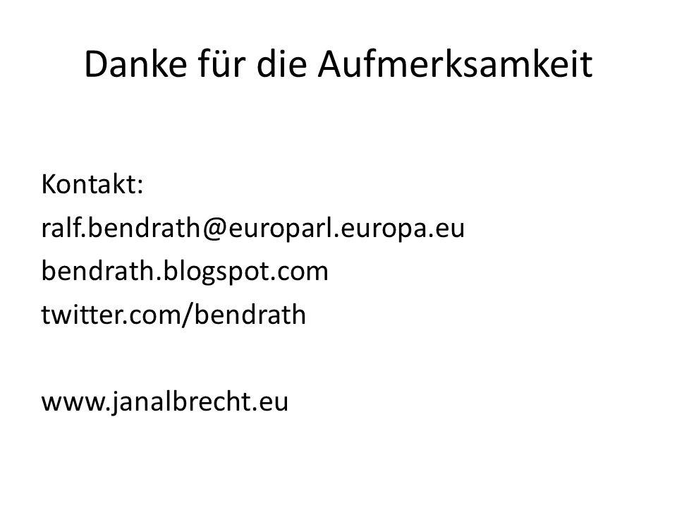 Danke für die Aufmerksamkeit Kontakt: ralf.bendrath@europarl.europa.eu bendrath.blogspot.com twitter.com/bendrath www.janalbrecht.eu
