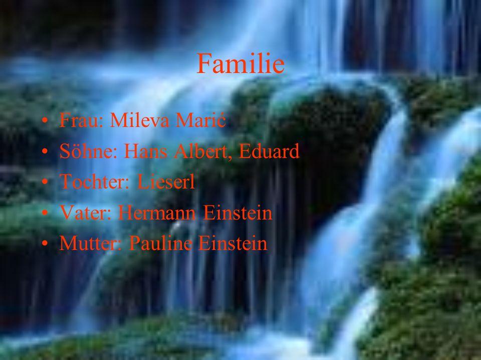 Familie Frau: Mileva Marić Söhne: Hans Albert, Eduard Tochter: Lieserl Vater: Hermann Einstein Mutter: Pauline Einstein