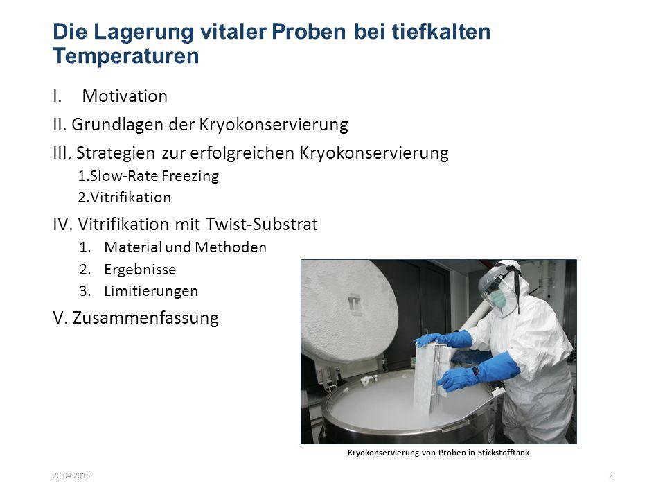 Die Lagerung vitaler Proben bei tiefkalten Temperaturen I.Motivation II.