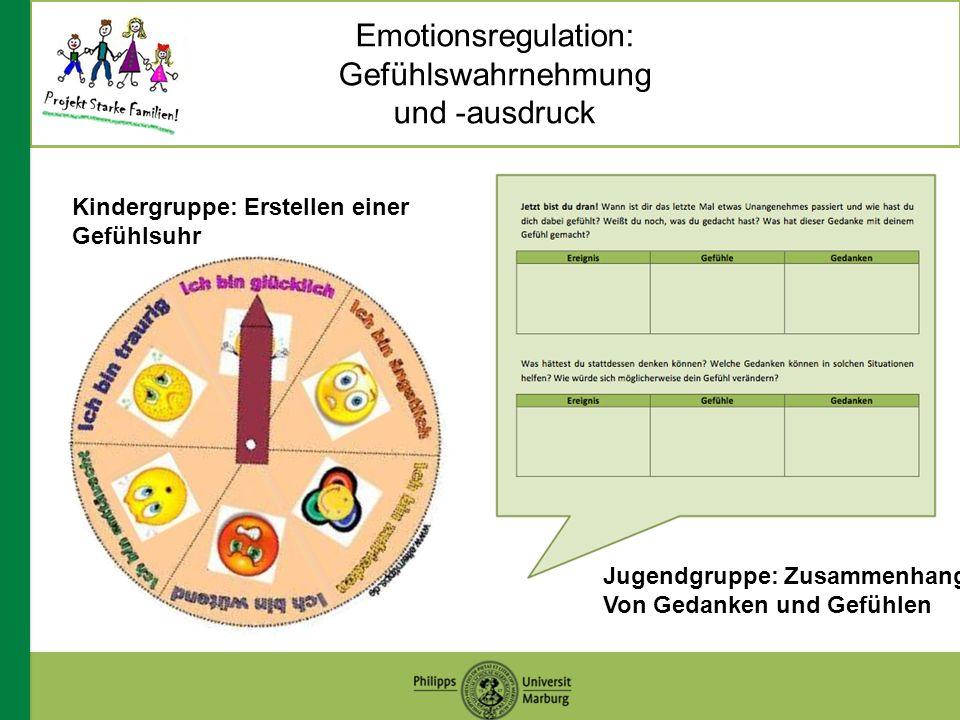Emotionsregulation: Gefühlswahrnehmung und -ausdruck Kindergruppe: Erstellen einer Gefühlsuhr Jugendgruppe: Zusammenhang Von Gedanken und Gefühlen