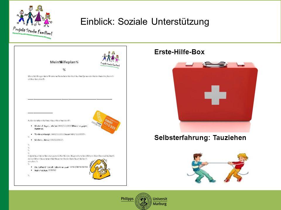 Einblick: Soziale Unterstützung Erste-Hilfe-Box Selbsterfahrung: Tauziehen