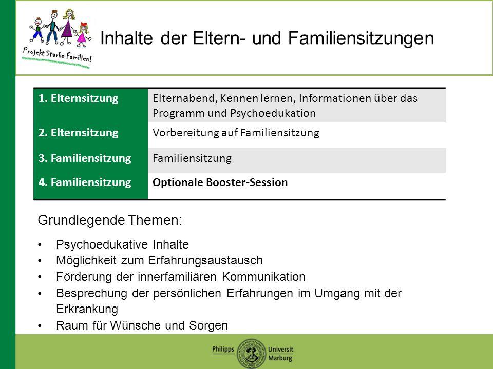 Inhalte der Eltern- und Familiensitzungen 1.