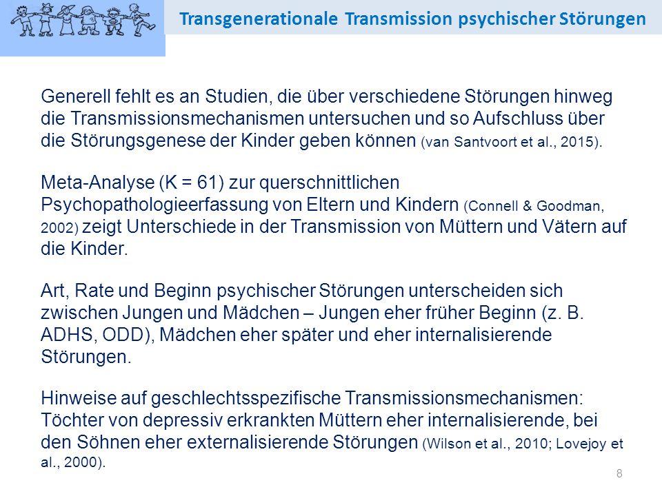 8 Transgenerationale Transmission psychischer Störungen Generell fehlt es an Studien, die über verschiedene Störungen hinweg die Transmissionsmechanismen untersuchen und so Aufschluss über die Störungsgenese der Kinder geben können (van Santvoort et al., 2015).