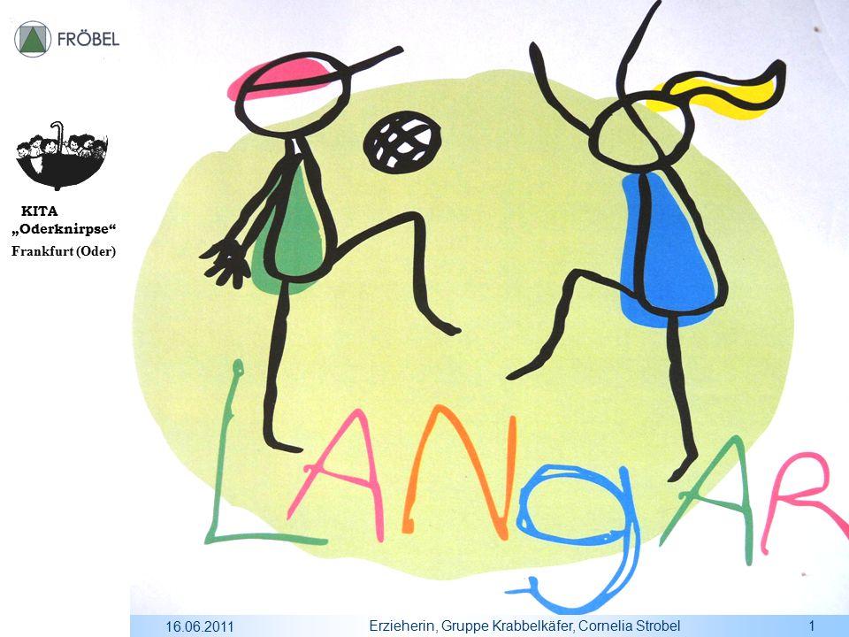 """KITA """"Oderknirpse Frankfurt (Oder) 16.06.2011 Erzieherin, Gruppe Krabbelkäfer, Cornelia Strobel2 Gliederung:  Einführung  Das Kennenlernen  Der beiderseitige Austausch  Zusammenfassung"""