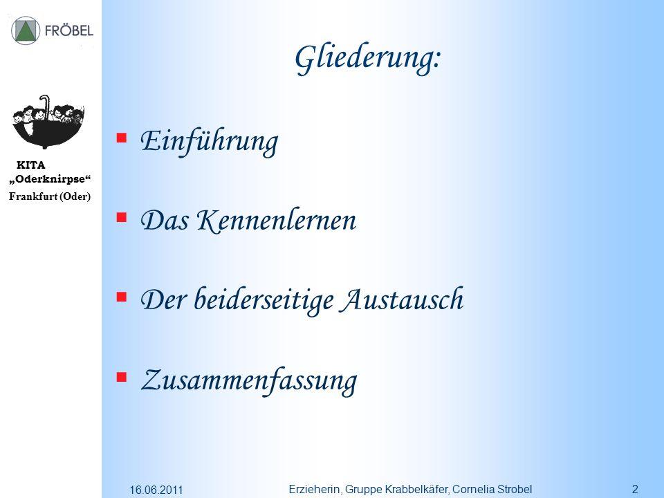 """KITA """"Oderknirpse"""" Frankfurt (Oder) 16.06.2011 Erzieherin, Gruppe Krabbelkäfer, Cornelia Strobel2 Gliederung:  Einführung  Das Kennenlernen  Der be"""