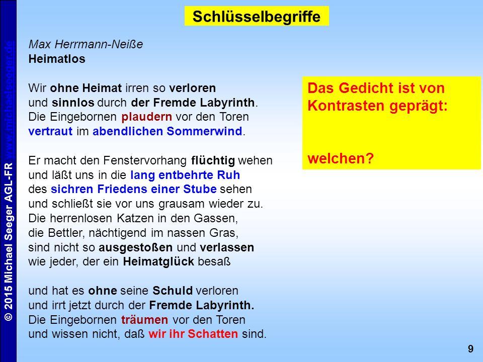 9 © 2015 Michael Seeger AGL-FR www.michaelseeger.dewww.michaelseeger.de Schlüsselbegriffe Max Herrmann-Neiße Heimatlos Wir ohne Heimat irren so verloren und sinnlos durch der Fremde Labyrinth.