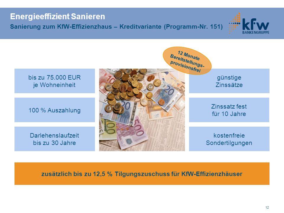 12 Energieeffizient Sanieren Sanierung zum KfW-Effizienzhaus – Kreditvariante (Programm-Nr.