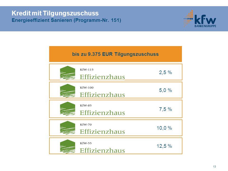 13 Kredit mit Tilgungszuschuss Energieeffizient Sanieren (Programm-Nr.