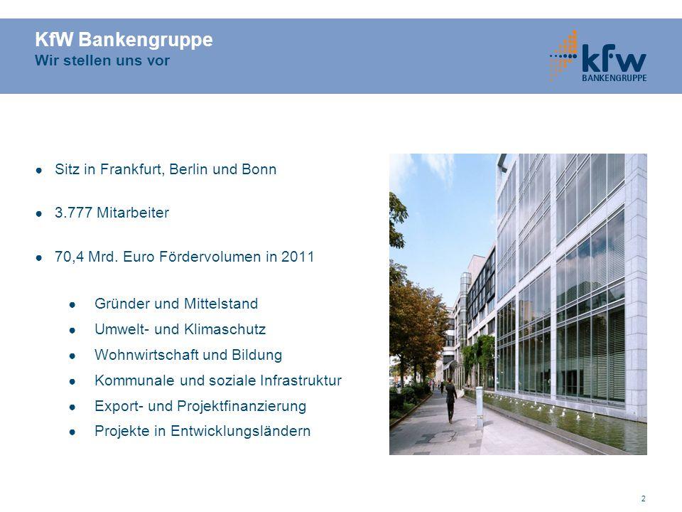 2 KfW Bankengruppe Wir stellen uns vor ● Sitz in Frankfurt, Berlin und Bonn ● 3.777 Mitarbeiter ● 70,4 Mrd.