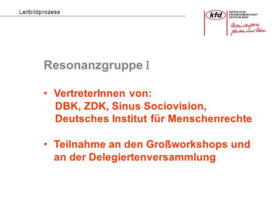 Resonanzgruppe  VertreterInnen von: DBK, ZDK, Sinus Sociovision, Deutsches Institut für Menschenrechte Teilnahme an den Großworkshops und an der Delegiertenversammlung Leitbildprozess