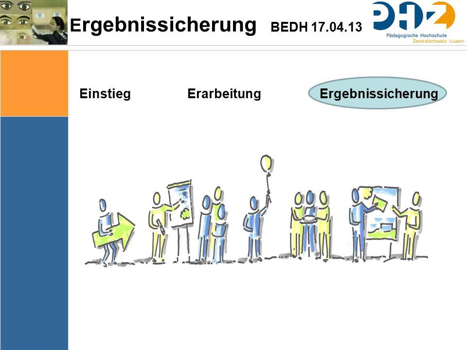E rgebnissicherung BEDH 17.04.13 Einstieg Erarbeitung Ergebnissicherung