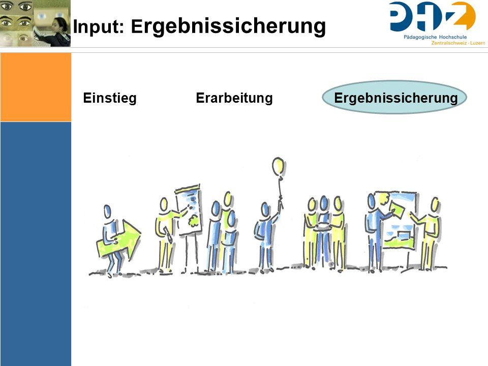 Input: E rgebnissicherung Einstieg Erarbeitung Ergebnissicherung