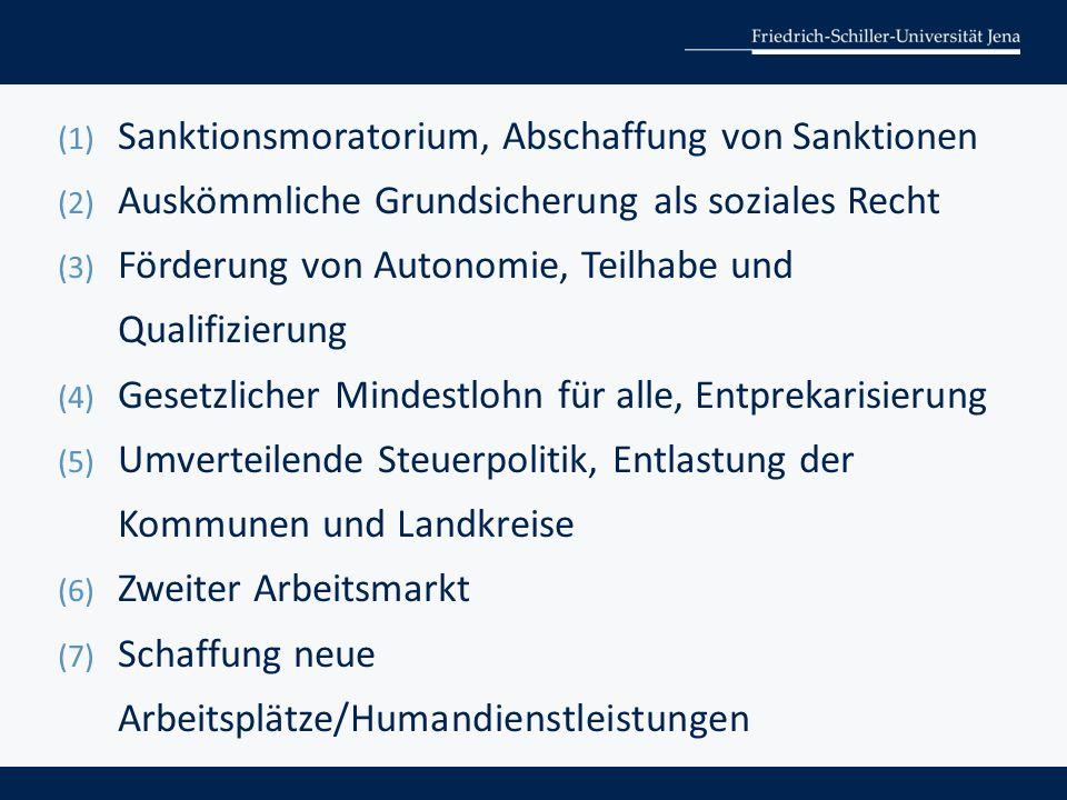 (1) Sanktionsmoratorium, Abschaffung von Sanktionen (2) Auskömmliche Grundsicherung als soziales Recht (3) Förderung von Autonomie, Teilhabe und Qualifizierung (4) Gesetzlicher Mindestlohn für alle, Entprekarisierung (5) Umverteilende Steuerpolitik, Entlastung der Kommunen und Landkreise (6) Zweiter Arbeitsmarkt (7) Schaffung neue Arbeitsplätze/Humandienstleistungen
