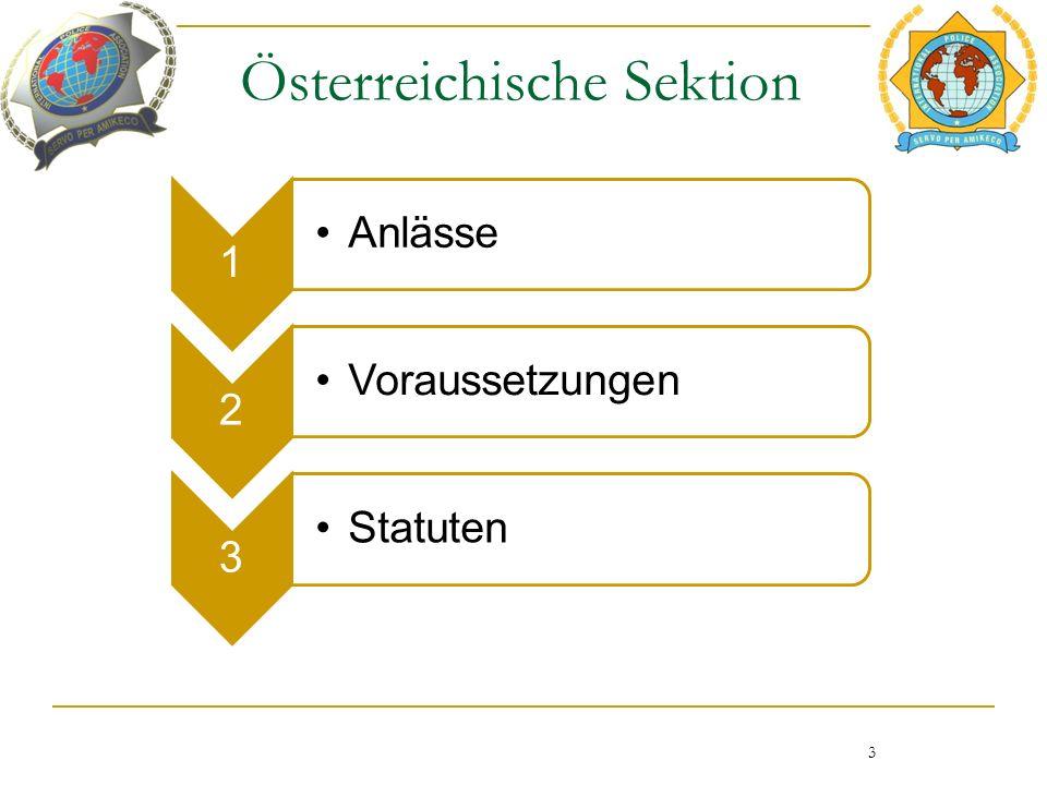 Österreichische Sektion 1 Anlässe 2 Voraussetzungen 3 Statuten 3