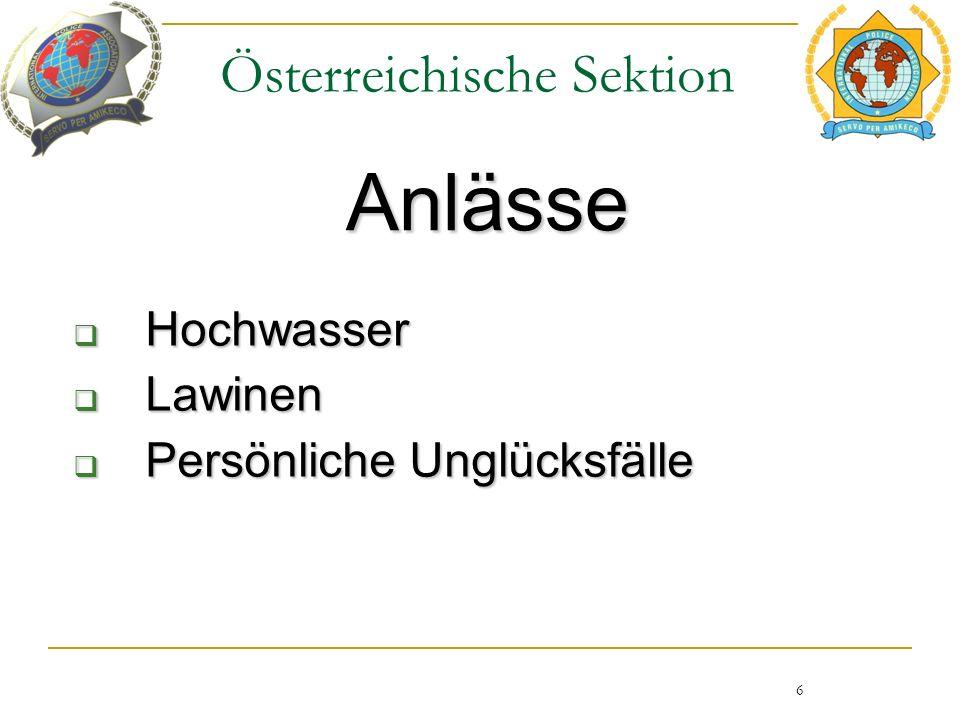 Österreichische Sektion Anlässe 6  Hochwasser  Lawinen  Persönliche Unglücksfälle