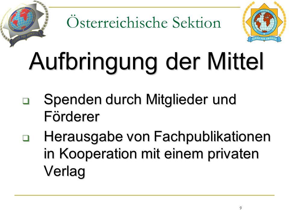 Österreichische Sektion Aufbringung der Mittel 9  Spenden durch Mitglieder und Förderer  Herausgabe von Fachpublikationen in Kooperation mit einem privaten Verlag