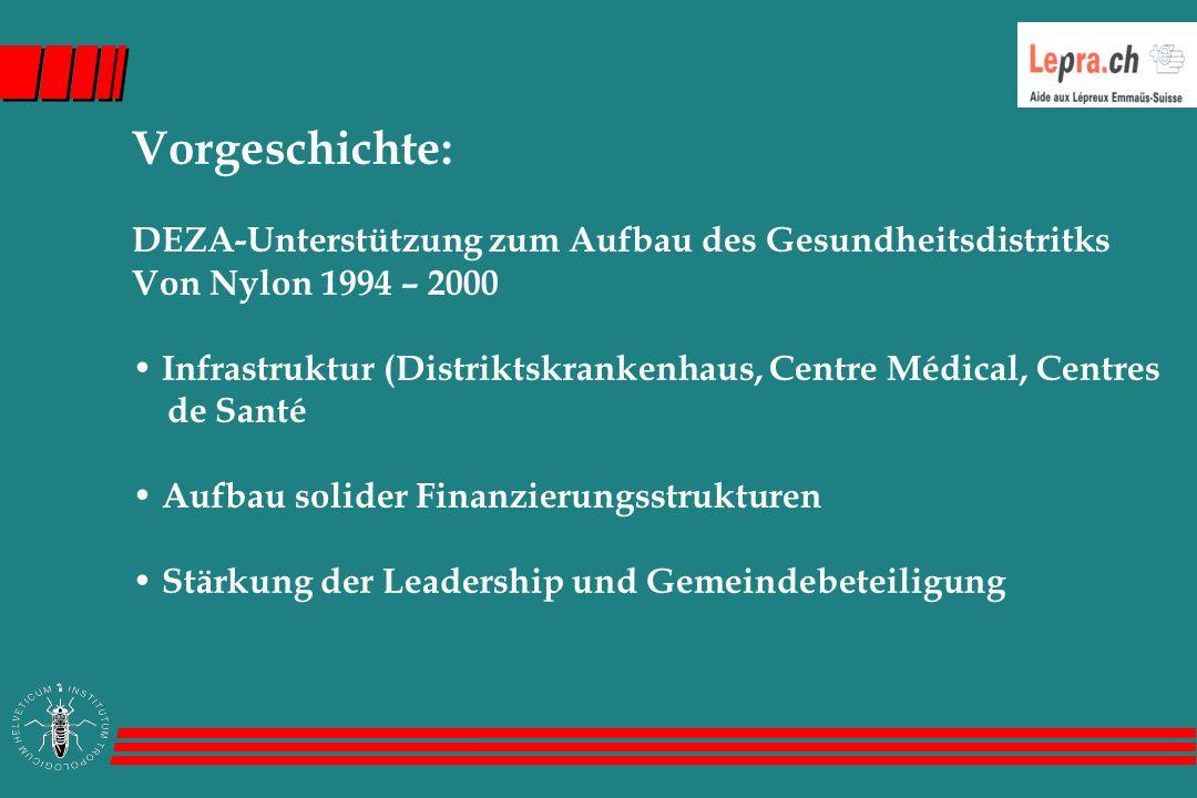 Vorgeschichte: DEZA-Unterstützung zum Aufbau des Gesundheitsdistritks Von Nylon 1994 – 2000 Infrastruktur (Distriktskrankenhaus, Centre Médical, Centres de Santé Aufbau solider Finanzierungsstrukturen Stärkung der Leadership und Gemeindebeteiligung