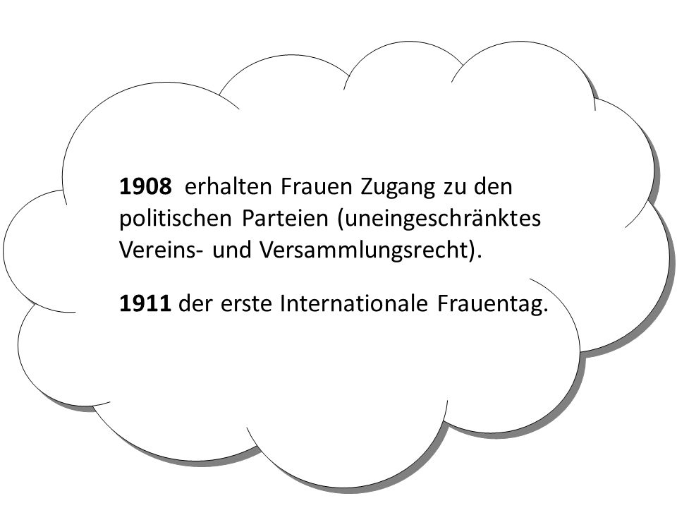 1908 erhalten Frauen Zugang zu den politischen Parteien (uneingeschränktes Vereins- und Versammlungsrecht). 1911 der erste Internationale Frauentag.