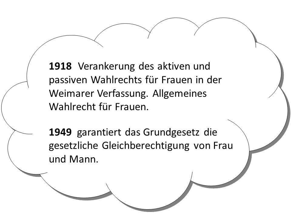 1918Verankerung des aktiven und passiven Wahlrechts für Frauen in der Weimarer Verfassung. Allgemeines Wahlrecht für Frauen. 1949 garantiert das Grund