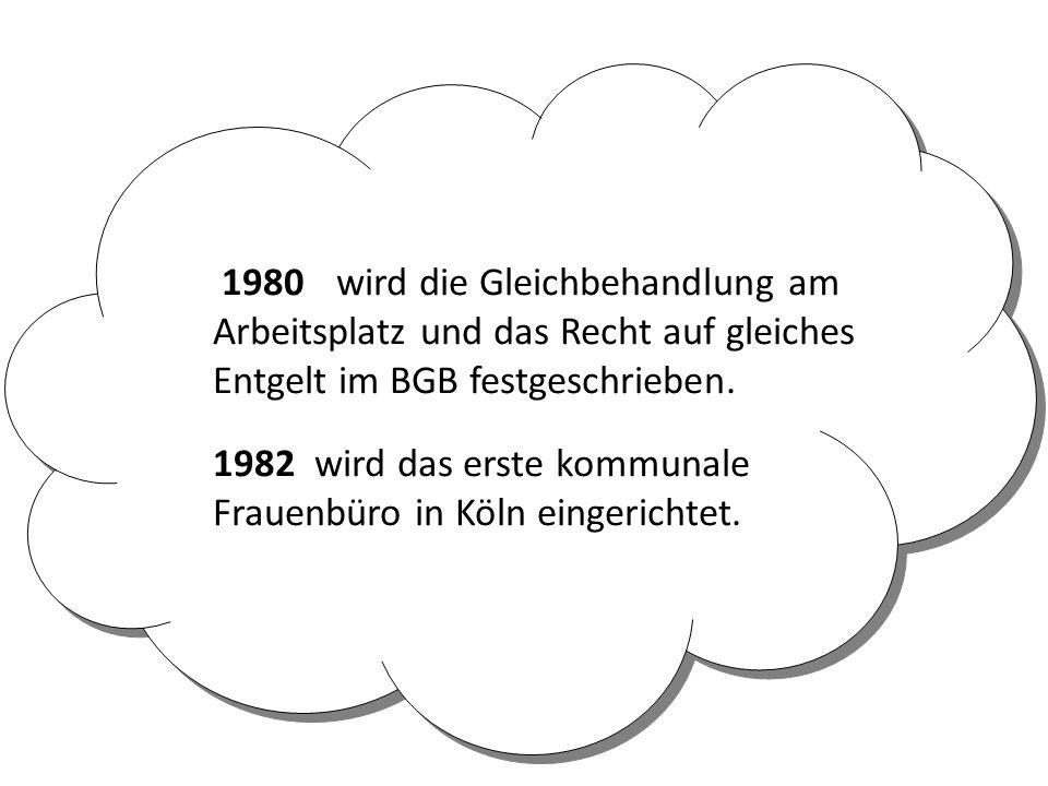 1980 wird die Gleichbehandlung am Arbeitsplatz und das Recht auf gleiches Entgelt im BGB festgeschrieben.
