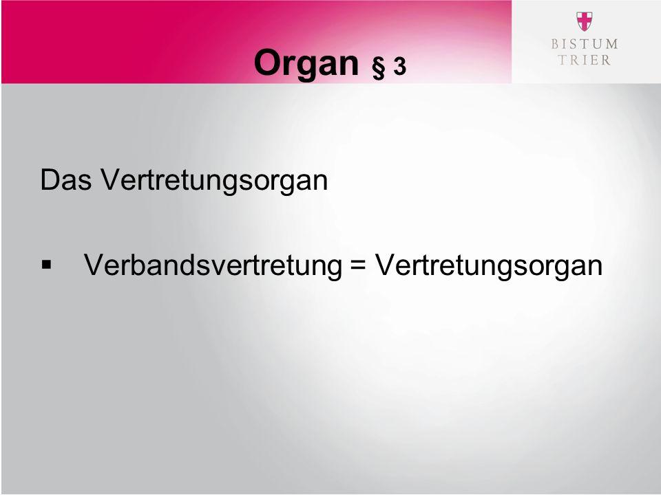 Organ § 3 Das Vertretungsorgan  Verbandsvertretung = Vertretungsorgan