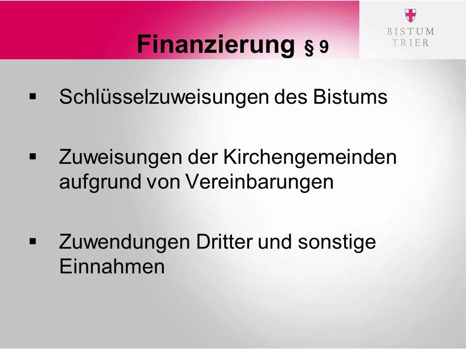 Finanzierung § 9  Schlüsselzuweisungen des Bistums  Zuweisungen der Kirchengemeinden aufgrund von Vereinbarungen  Zuwendungen Dritter und sonstige Einnahmen