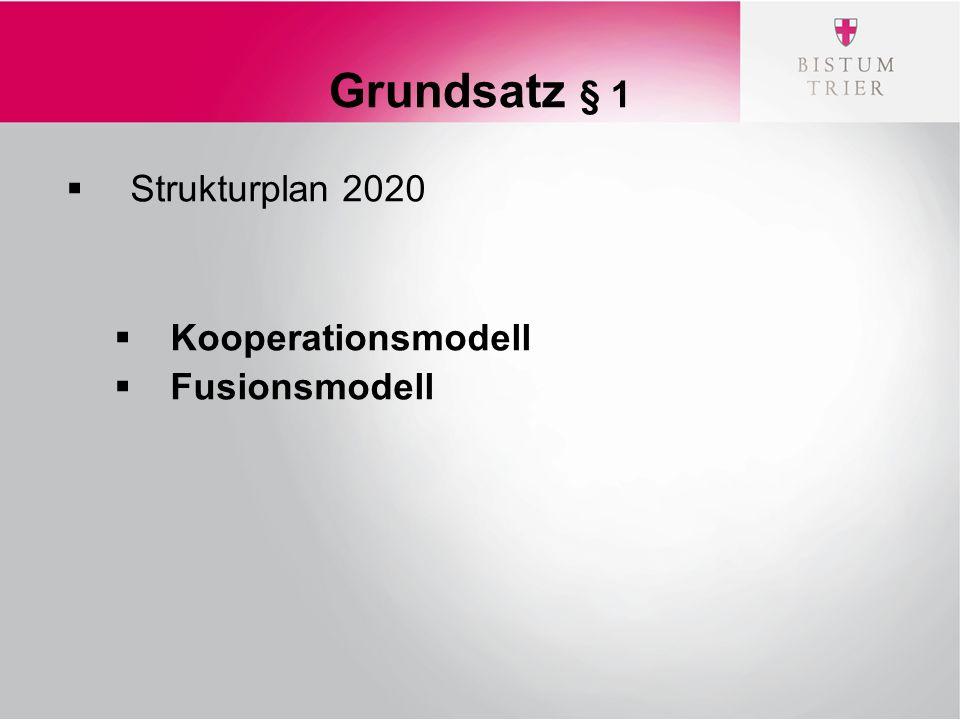 Grundsatz § 1  Strukturplan 2020  Kooperationsmodell  Fusionsmodell