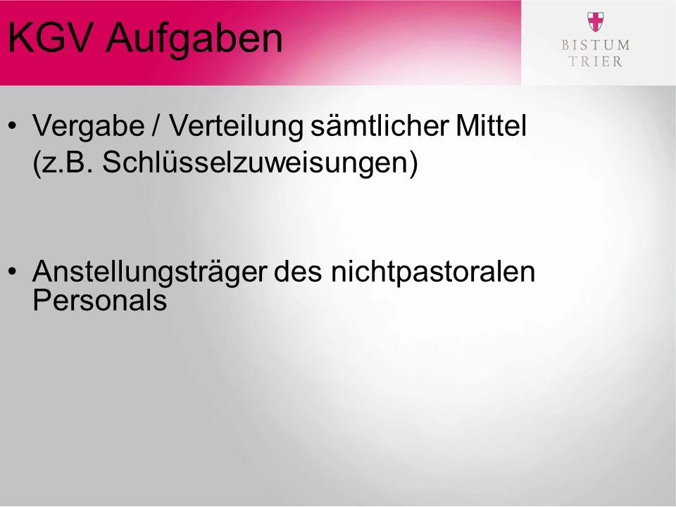 KGV Aufgaben Vergabe / Verteilung sämtlicher Mittel (z.B.