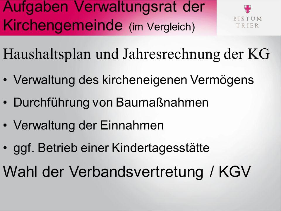 Aufgaben Verwaltungsrat der Kirchengemeinde (im Vergleich) Haushaltsplan und Jahresrechnung der KG Verwaltung des kircheneigenen Vermögens Durchführung von Baumaßnahmen Verwaltung der Einnahmen ggf.