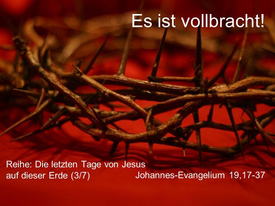 Johannes-Evangelium 19,31 Es war Rüsttag, der Tag vor dem Sabbat, und die führenden Männer des jüdischen Volkes wollten nicht, dass die Gekreuzigten den Sabbat über am Kreuz hängen blieben, umso mehr als dieser Sabbat ein besonders hoher Feiertag war.