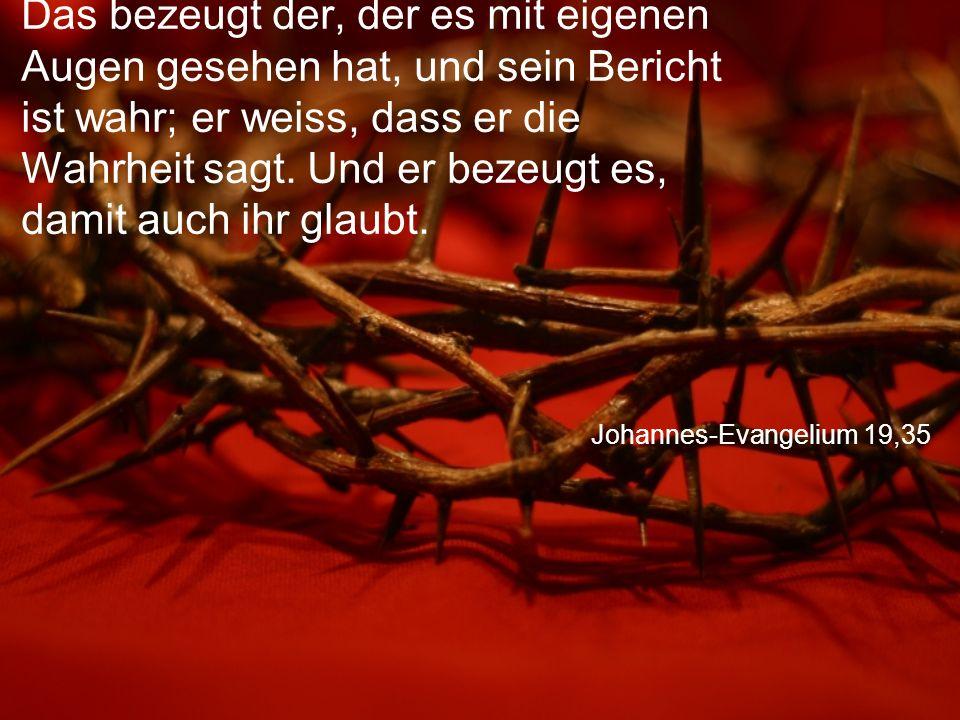 Johannes-Evangelium 19,35 Das bezeugt der, der es mit eigenen Augen gesehen hat, und sein Bericht ist wahr; er weiss, dass er die Wahrheit sagt.