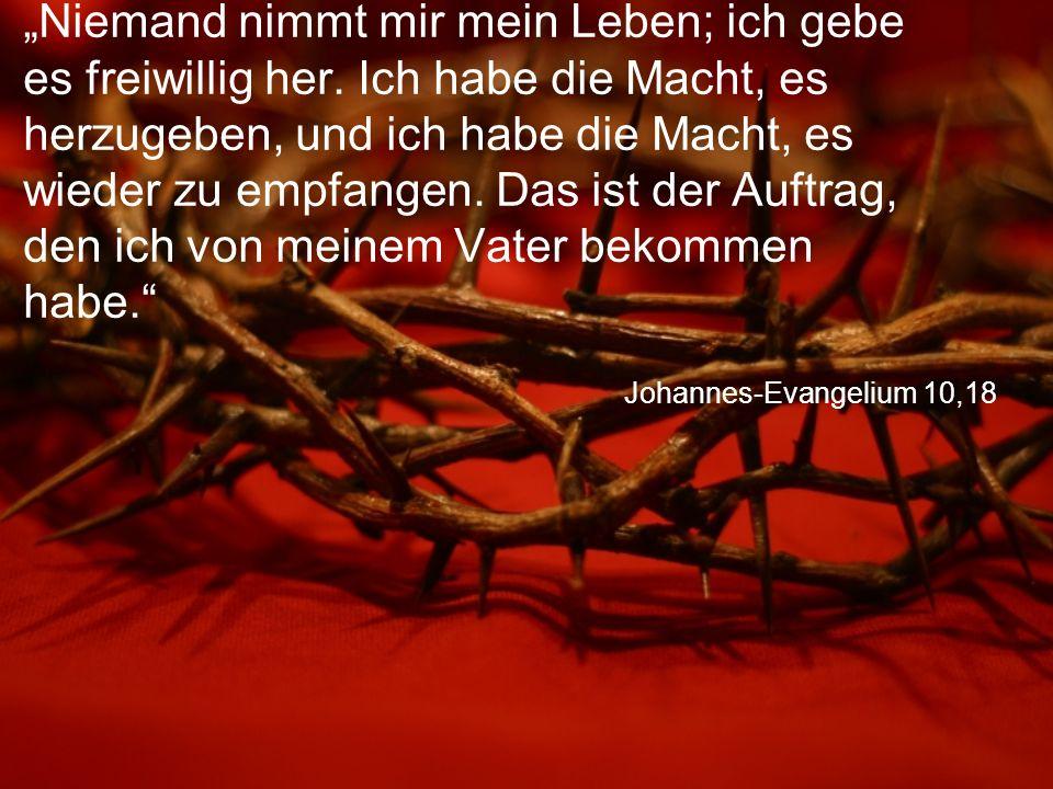 """Johannes-Evangelium 10,18 """"Niemand nimmt mir mein Leben; ich gebe es freiwillig her."""