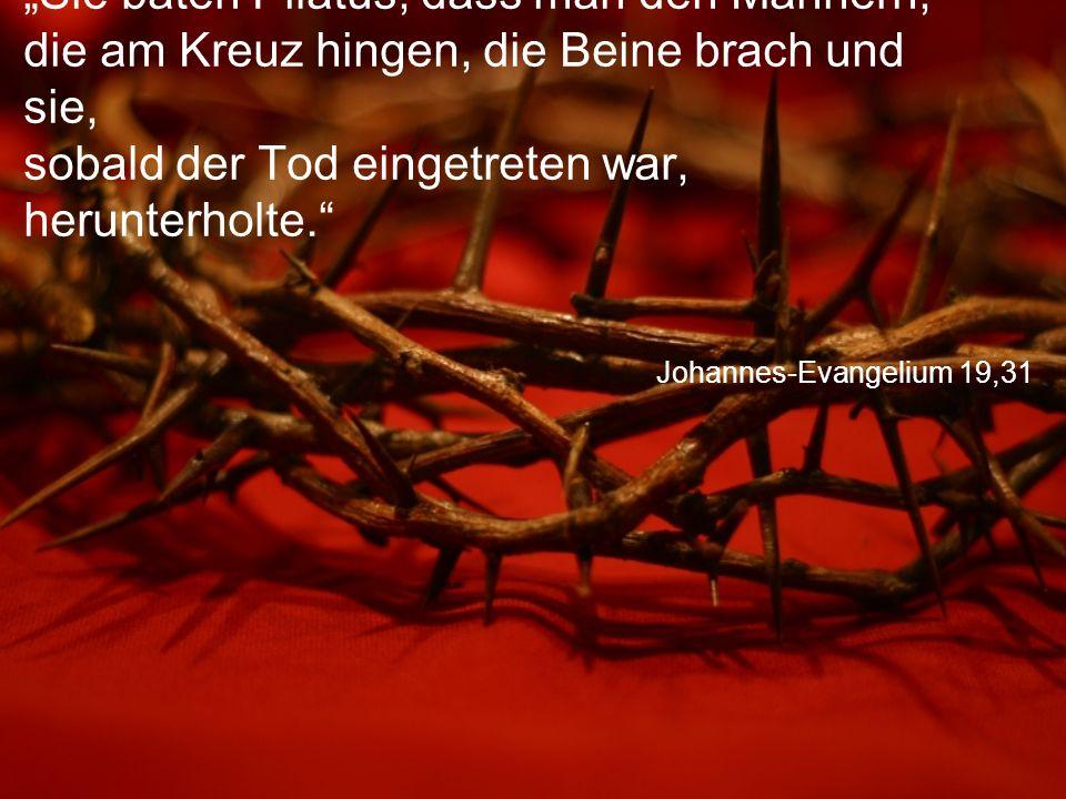 """Johannes-Evangelium 19,31 """"Sie baten Pilatus, dass man den Männern, die am Kreuz hingen, die Beine brach und sie, sobald der Tod eingetreten war, herunterholte."""