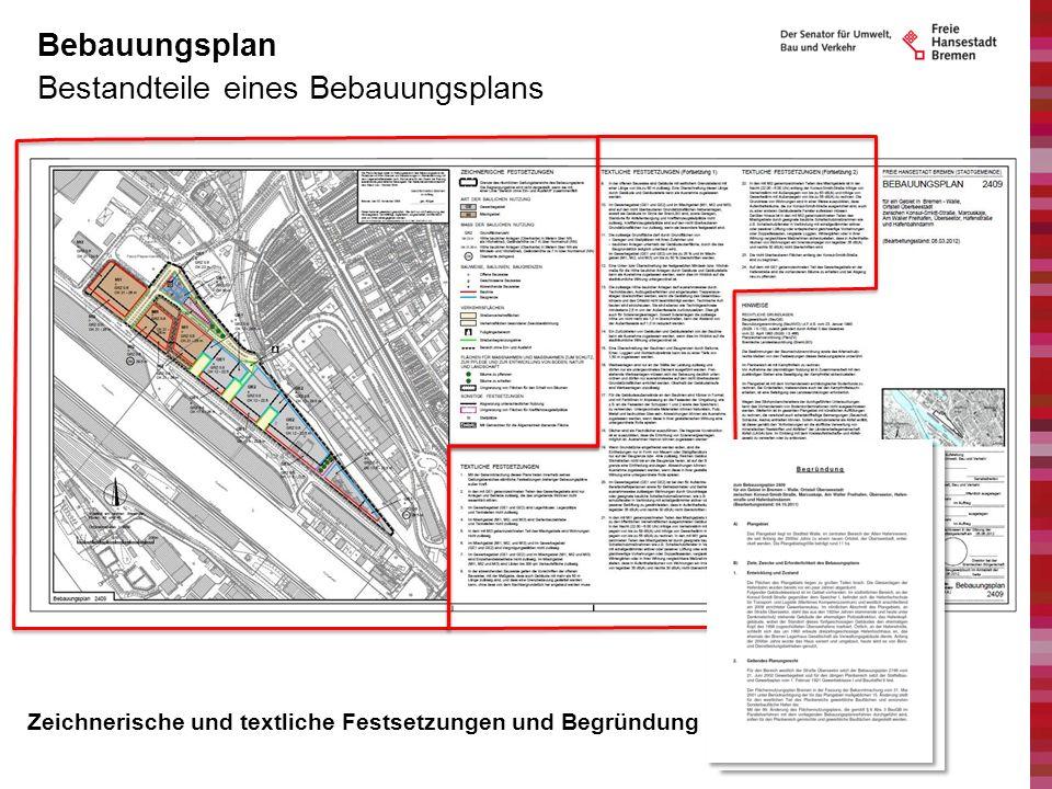 Bestandteile eines Bebauungsplans Bebauungsplan Zeichnerische und textliche Festsetzungen und Begründung