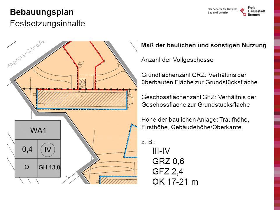 Festsetzungsinhalte Bebauungsplan Maß der baulichen und sonstigen Nutzung Anzahl der Vollgeschosse Grundflächenzahl GRZ: Verhältnis der überbauten Flä
