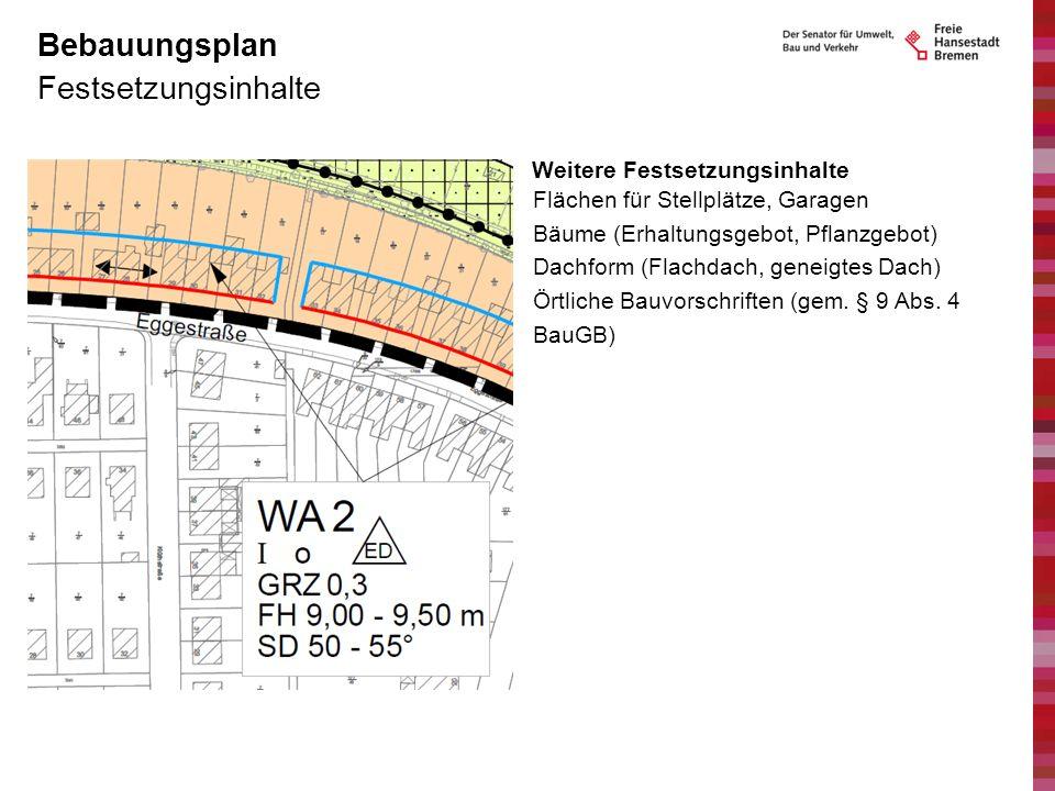 Festsetzungsinhalte Bebauungsplan Weitere Festsetzungsinhalte Flächen für Stellplätze, Garagen Bäume (Erhaltungsgebot, Pflanzgebot) Dachform (Flachdac
