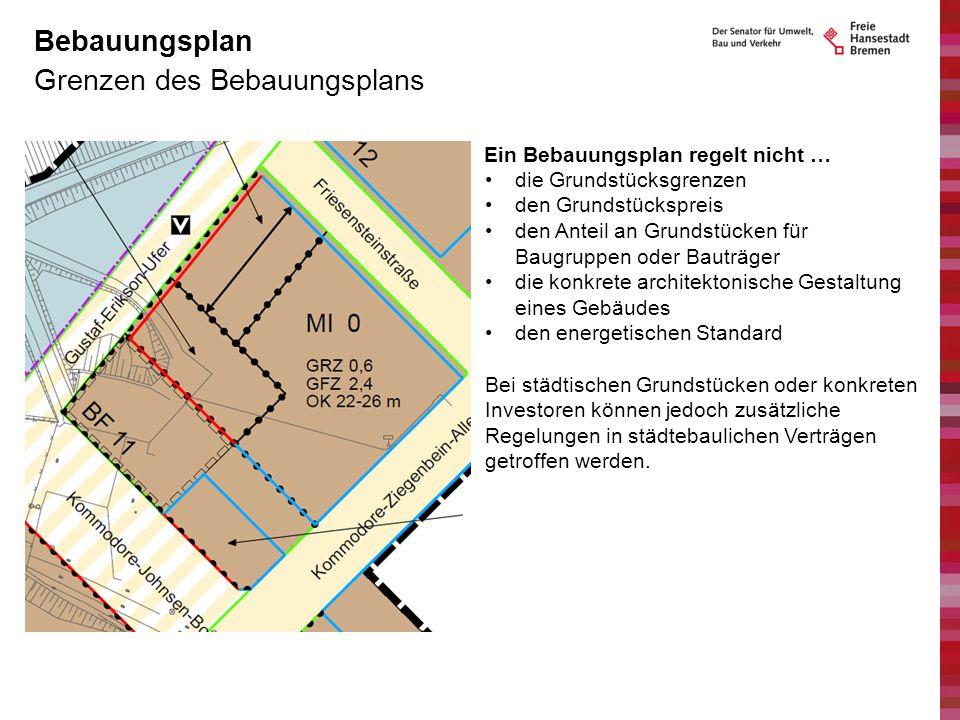 Grenzen des Bebauungsplans Bebauungsplan Ein Bebauungsplan regelt nicht … die Grundstücksgrenzen den Grundstückspreis den Anteil an Grundstücken für B