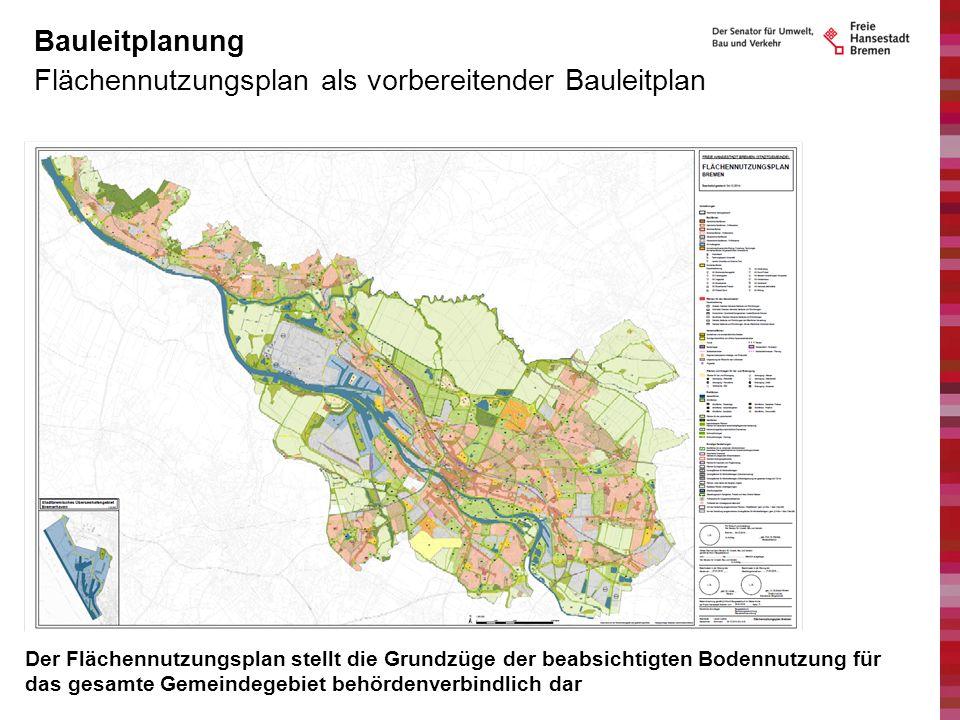 Flächennutzungsplan als vorbereitender Bauleitplan Bauleitplanung Der Flächennutzungsplan stellt die Grundzüge der beabsichtigten Bodennutzung für das