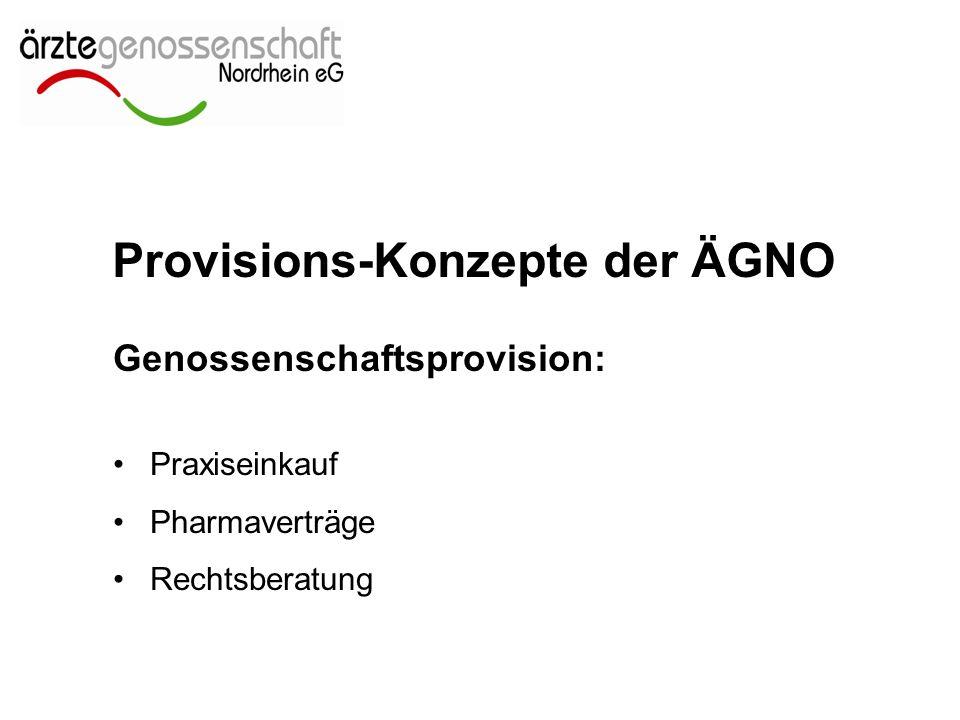 Provisions-Konzepte der ÄGNO Genossenschaftsprovision: Praxiseinkauf Pharmaverträge Rechtsberatung
