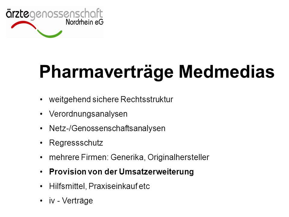 Pharmaverträge Medmedias weitgehend sichere Rechtsstruktur Verordnungsanalysen Netz-/Genossenschaftsanalysen Regressschutz mehrere Firmen: Generika, Originalhersteller Provision von der Umsatzerweiterung Hilfsmittel, Praxiseinkauf etc iv - Verträge